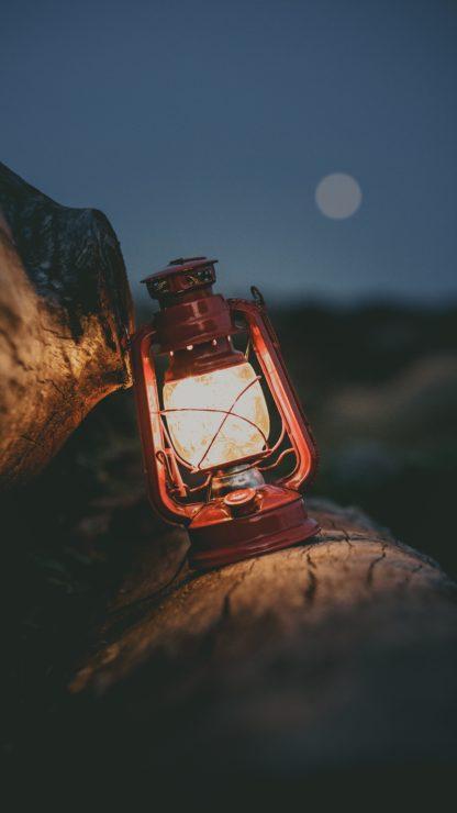 kväll, vandra, fotogenlampa